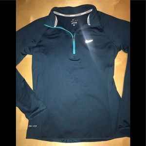 Nike Running Dri-Fit Warm 1/4 Zip Teal Jacket S